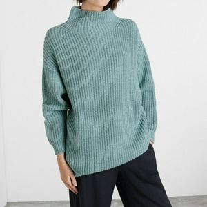 Poetry Blue Mock Neck Ribbed Oversized Sweater